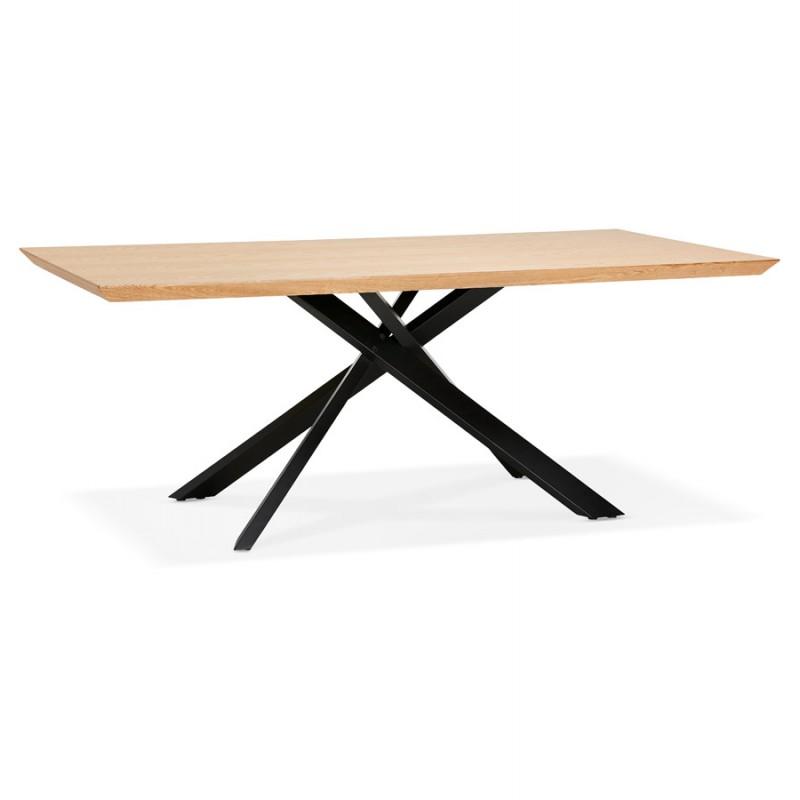 Mesa de comedor de diseño de madera y metal negro (200x100 cm) CATHALINA (acabado natural)