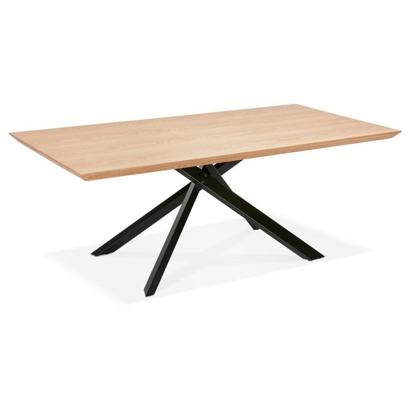 Mesa de comedor de diseño de madera y metal negro (200x100 cm) CATHALINA (acabado natural) - image 48936