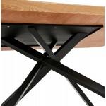 Esstisch aus Holz und schwarz Metall (200x100 cm) CATHALINA (natürliche Oberfläche)