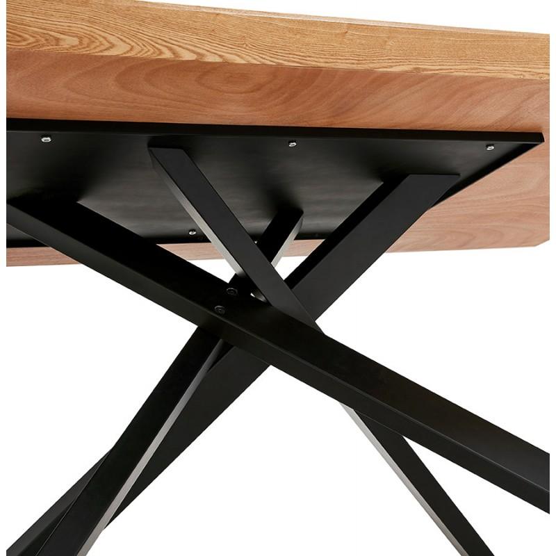 Mesa de comedor de diseño de madera y metal negro (200x100 cm) CATHALINA (acabado natural) - image 48939