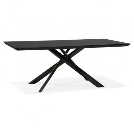 Mesa de comedor de diseño de madera y metal negro (200x100 cm) CATHALINA (negro)