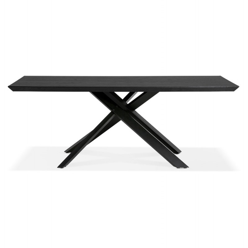 Esstisch aus Holz und schwarz Metall (200x100 cm) CATHALINA (schwarz) - image 48944
