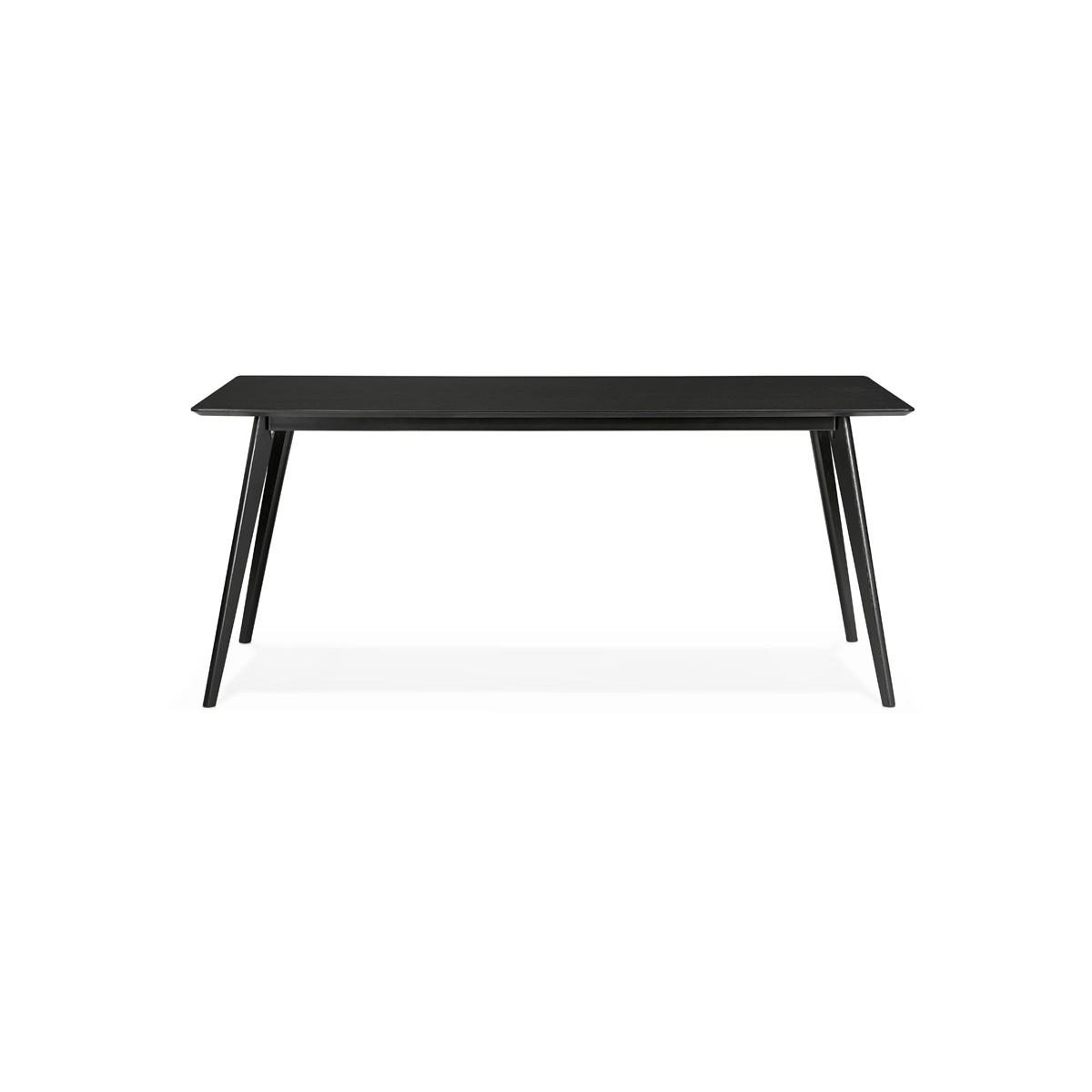Couleur Noir//Noir Mesures 120 X 80 X 75,5 cm Table /À Manger- Mod/èle Karla Mod/èle en Mati/ère Cristal//M/étal MOMMA HOME