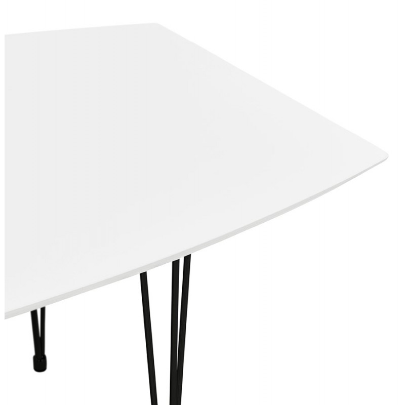 Table à manger extensible en bois et pieds métal noir (170/270cmx100cm) JUANA (blanc mat) - image 48982
