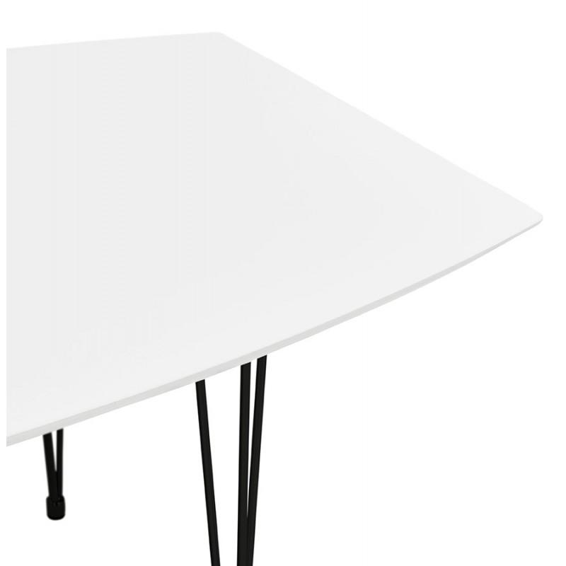 Ausziehbarer Esstisch aus Holz und schwarze Metallfüße (170/270cmx100cm) JUANA (mattweiß) - image 48982