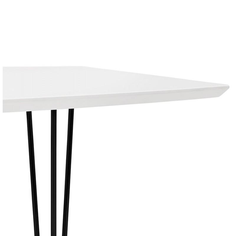 Table à manger extensible en bois et pieds métal noir (170/270cmx100cm) JUANA (blanc mat) - image 48983