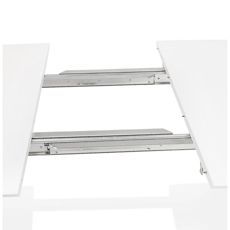Ausziehbarer Esstisch aus Holz und schwarze Metallfüße (170/270cmx100cm) JUANA (mattweiß) - image 48984
