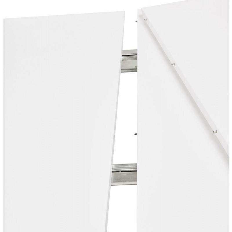 Ausziehbarer Esstisch aus Holz und schwarze Metallfüße (170/270cmx100cm) JUANA (mattweiß) - image 48986