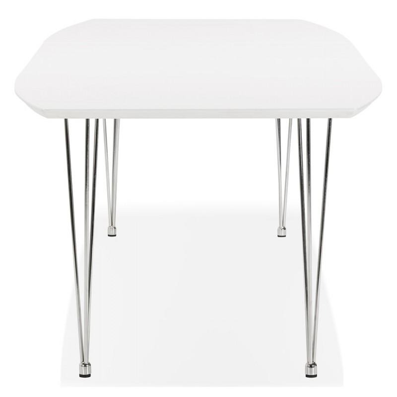 Table à manger extensible en bois et pieds chromés (170/270cmx100cm) JUANA (blanc mat) - image 48990