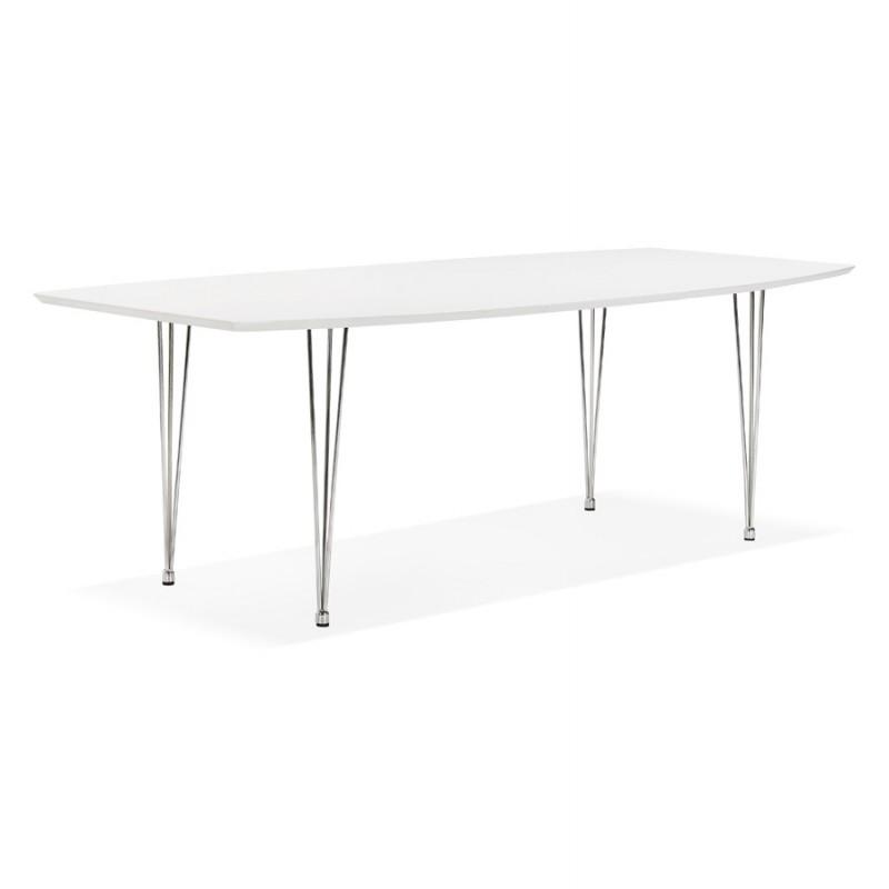 Mesa de comedor de madera extensible y pies cromados (170/270cmx100cm) JUANA (blanco mate) - image 48992