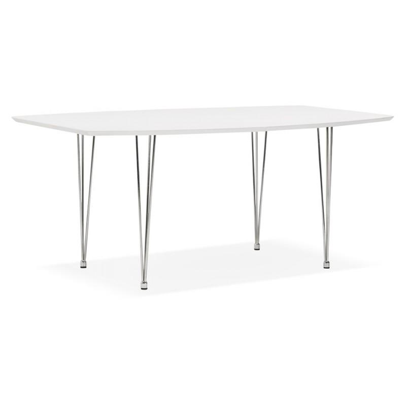 Mesa de comedor de madera extensible y pies cromados (170/270cmx100cm) JUANA (blanco mate) - image 48993