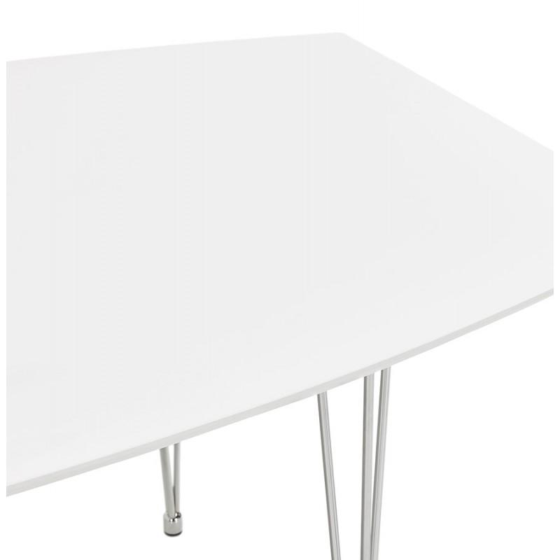 Mesa de comedor de madera extensible y pies cromados (170/270cmx100cm) JUANA (blanco mate) - image 48995