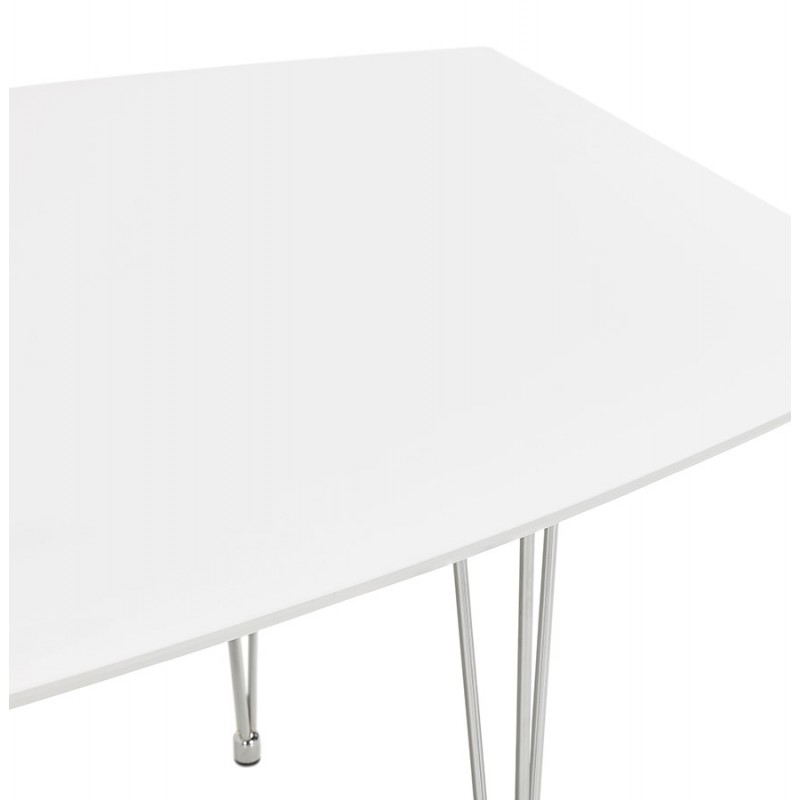 Table à manger extensible en bois et pieds chromés (170/270cmx100cm) JUANA (blanc mat) - image 48995