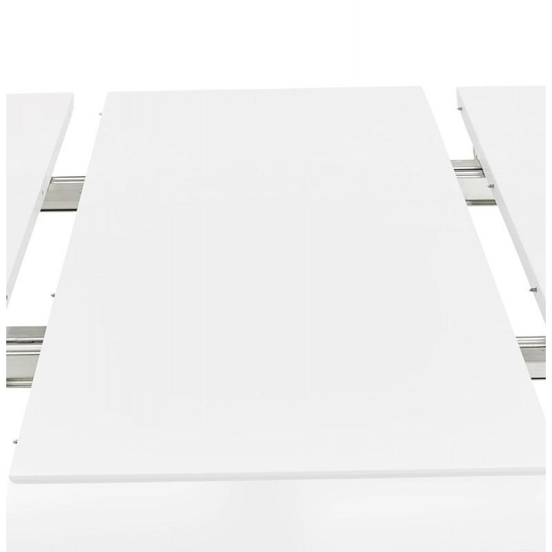Mesa de comedor de madera extensible y pies cromados (170/270cmx100cm) JUANA (blanco mate) - image 48998