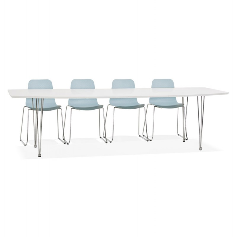 Table à manger extensible en bois et pieds chromés (170/270cmx100cm) JUANA (blanc mat) - image 49001