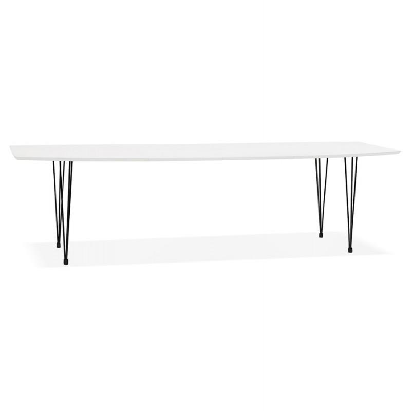 Mesa de comedor de madera extensible y pies negros (170/270cmx100cm) LOANA (laqué blanco) - image 49002