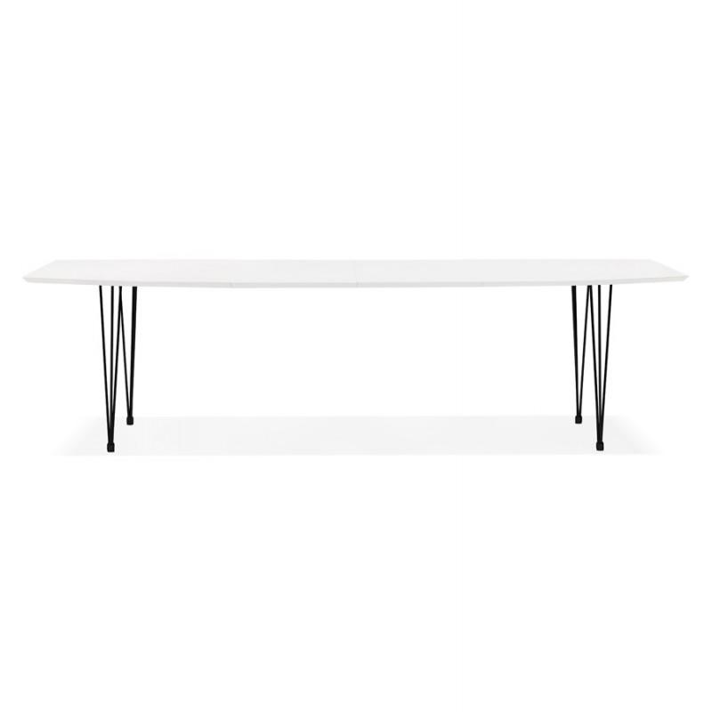 Table à manger extensible en bois et pieds noirs (170/270cmx100cm) LOANA (blanc laqué) - image 49003