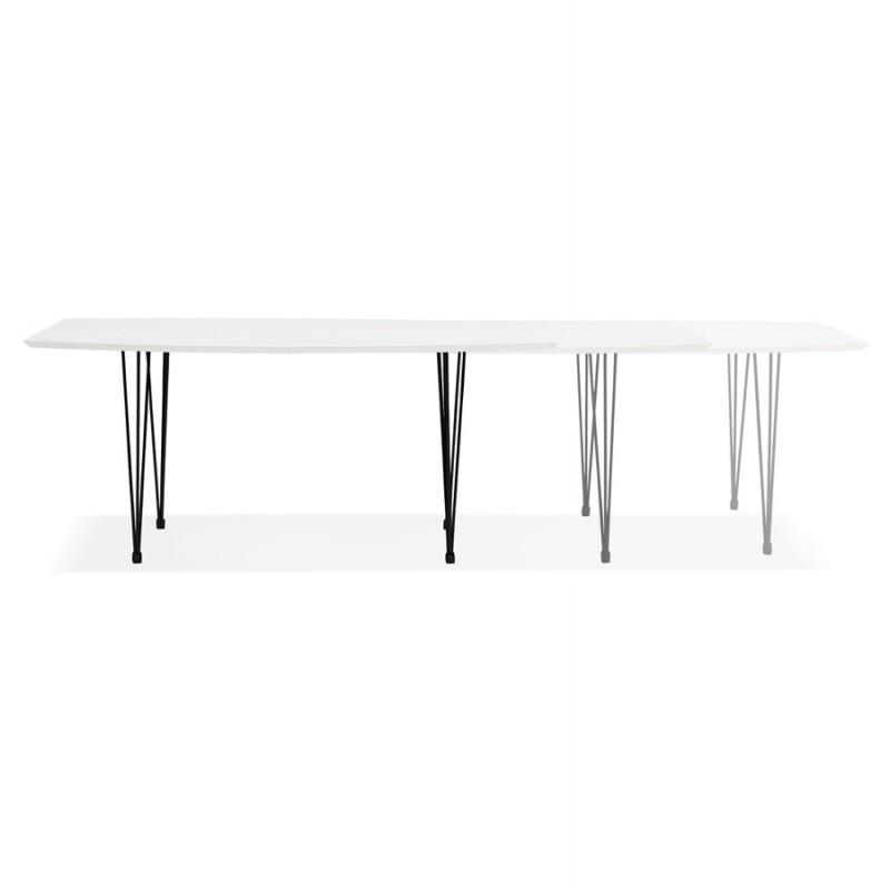 Table à manger extensible en bois et pieds noirs (170/270cmx100cm) LOANA (blanc laqué) - image 49010