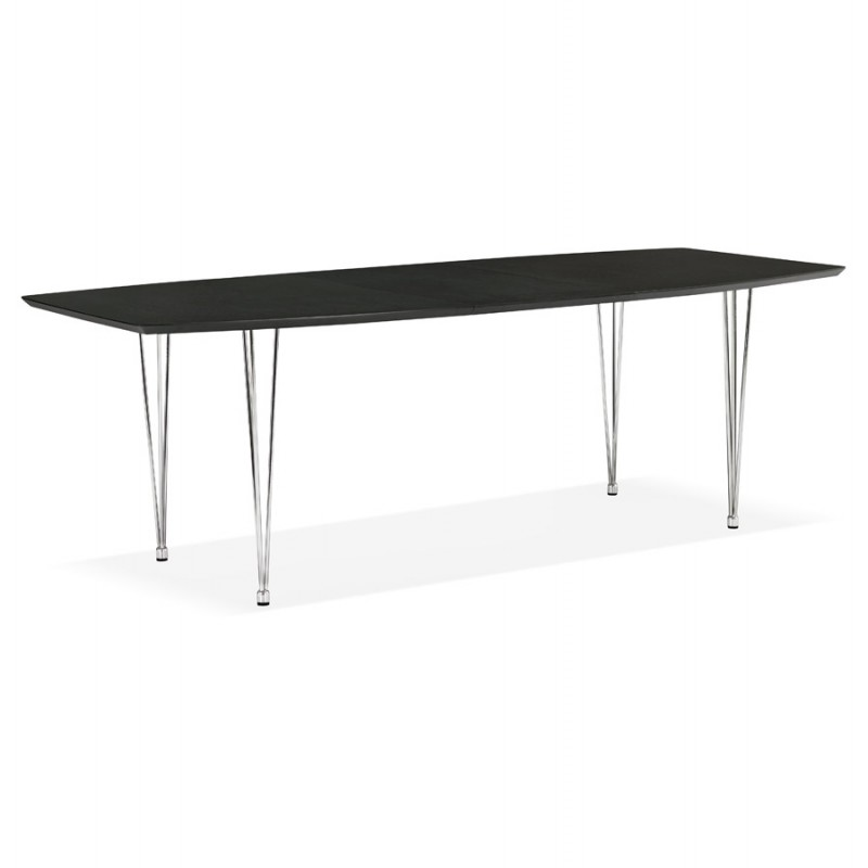Table à manger extensible en bois et pieds chromé (170/270cmx100cm) RINBO (noir) - image 49015