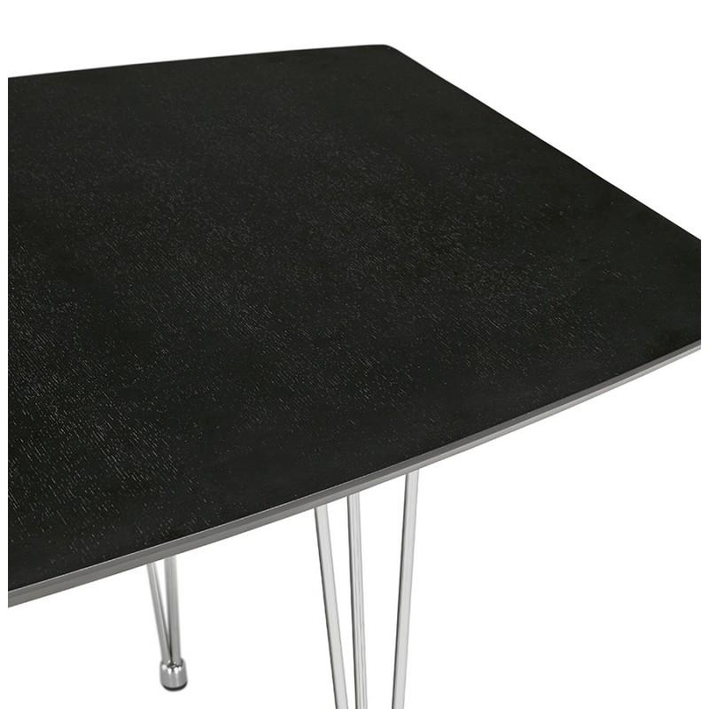 Table à manger extensible en bois et pieds chromé (170/270cmx100cm) RINBO (noir) - image 49021
