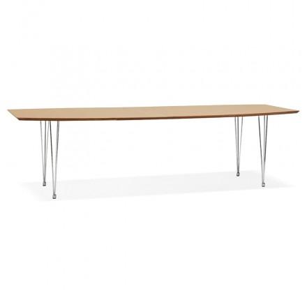 Ausziehbarer Esstisch aus Holz und Chromfüße (170/270cmx100cm) RINBO (natürliche Oberfläche)