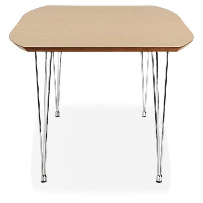 Mesa de comedor de madera extensible y pies cromados (170/270cmx100cm) RINBO (acabado natural) - image 49039