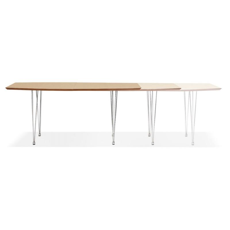 Mesa de comedor de madera extensible y pies cromados (170/270cmx100cm) RINBO (acabado natural) - image 49046
