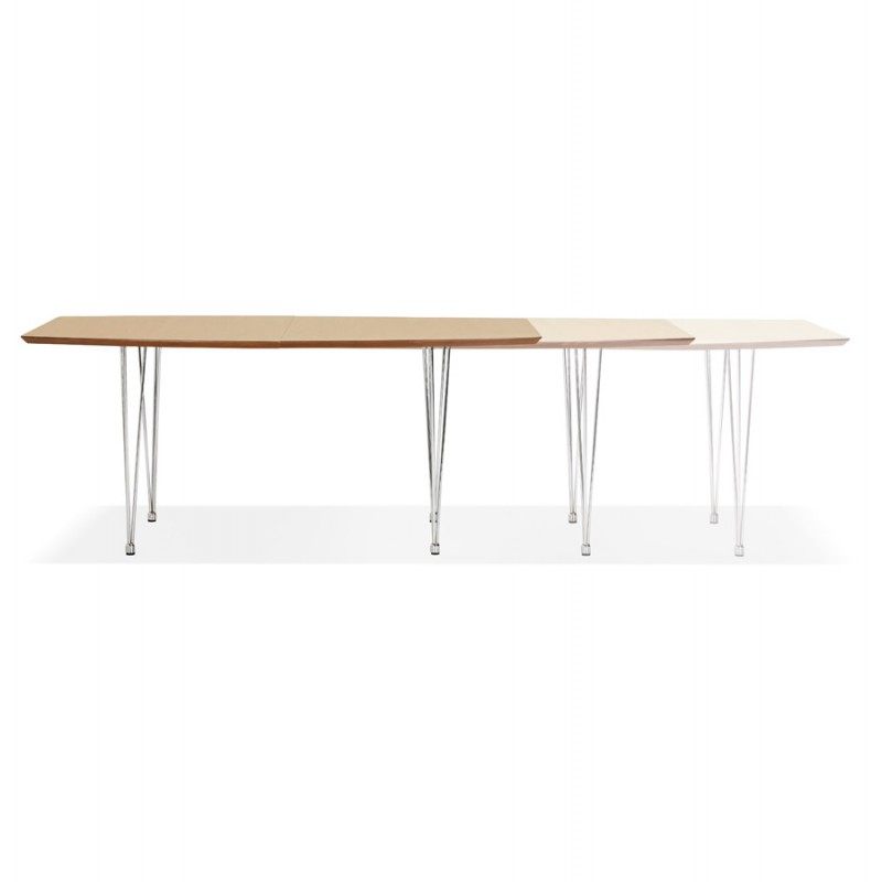 Table à manger extensible en bois et pieds chromé (170/270cmx100cm) RINBO (finition naturelle) - image 49046