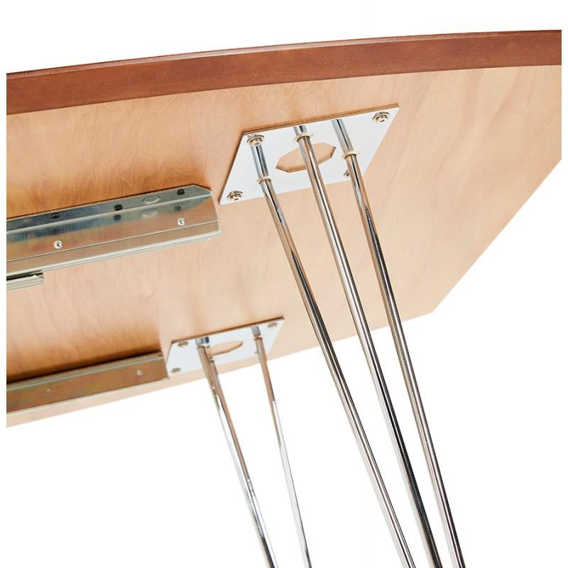 Table à manger extensible en bois et pieds chromé (170/270cmx100cm) RINBO (finition naturelle) - image 49051