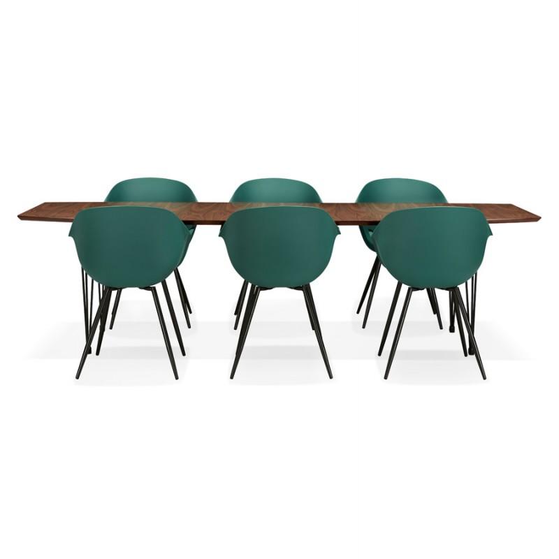 Table à manger extensible en bois et pieds noirs (170/270cmx100cm) LOANA (noyer) - image 49056