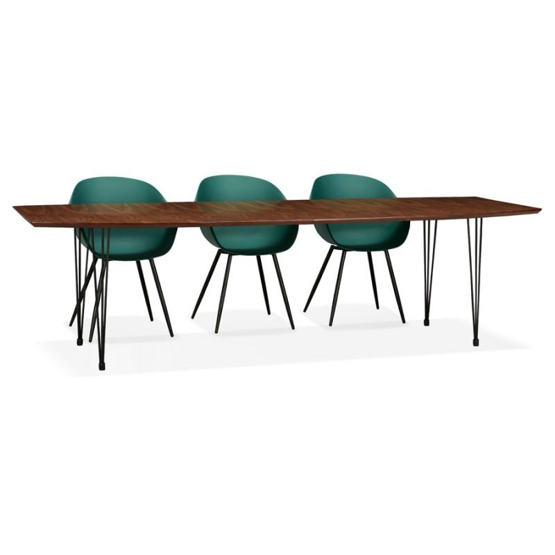 Table à manger extensible en bois et pieds noirs (170/270cmx100cm) LOANA (noyer) - image 49057