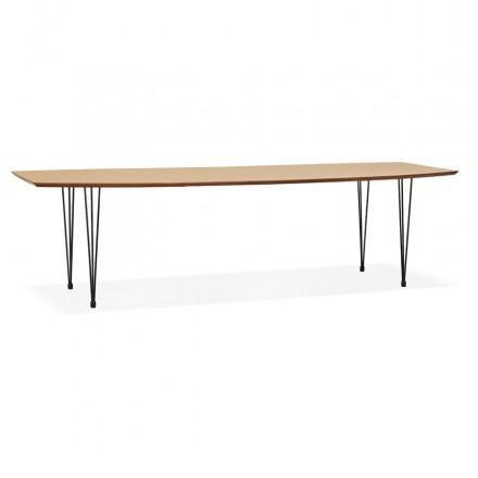 Mesa de comedor de madera extensible y pies negros (170/270cmx100cm) LOANA (acabado natural)