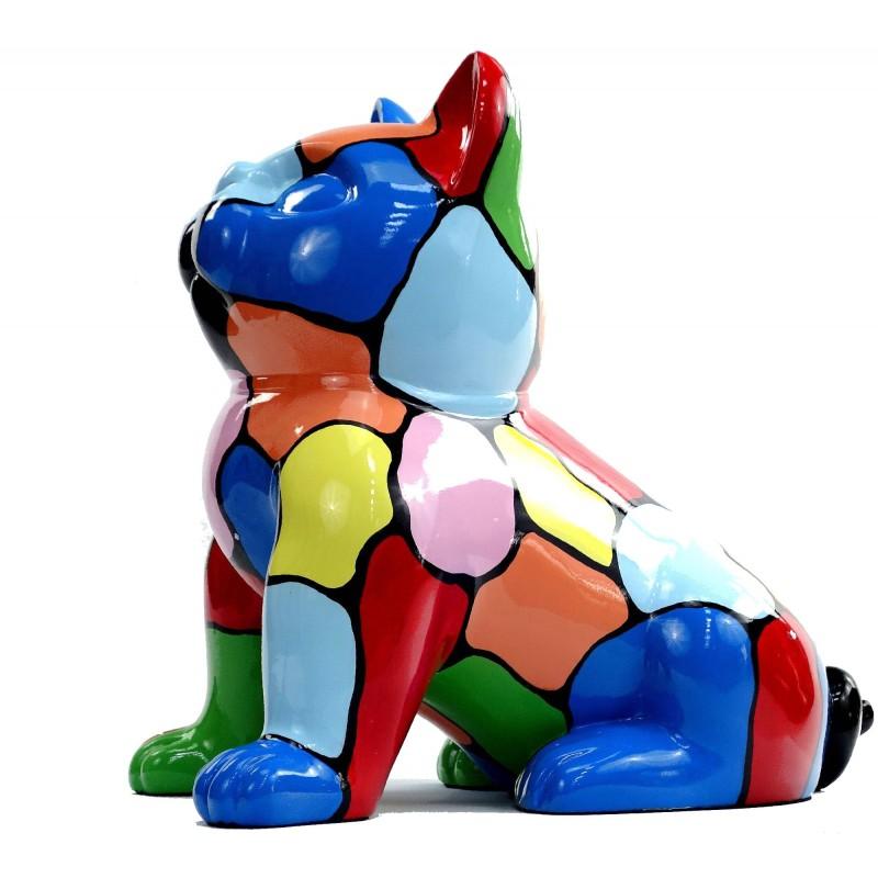 Statue sculpture décorative design CHAT ASSIS en résine H45 (multicolore) - image 49080