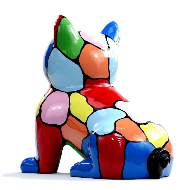 Statue sculpture décorative design CHAT ASSIS en résine H45 (multicolore) - image 49081