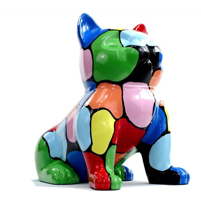 Statue sculpture décorative design CHAT ASSIS en résine H45 (multicolore) - image 49084