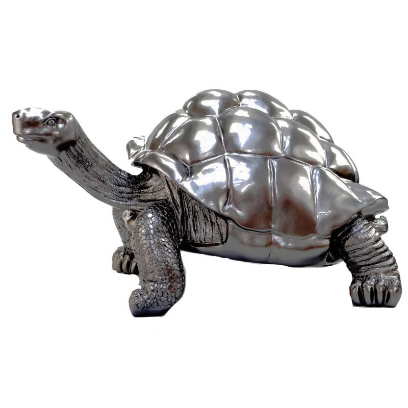 Estatua de tortuga diseño escultura decorativa en resina (plata) - image 49090