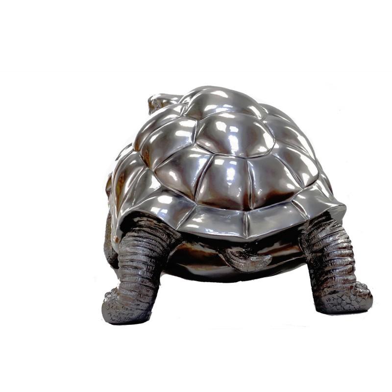 Estatua de tortuga diseño escultura decorativa en resina (plata) - image 49091