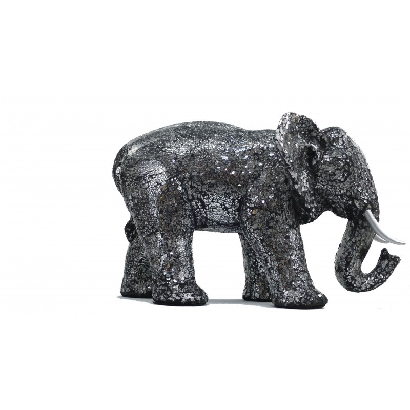 Statue ELEPHANT design decorative sculpture in resin (black, silver) - image 49096