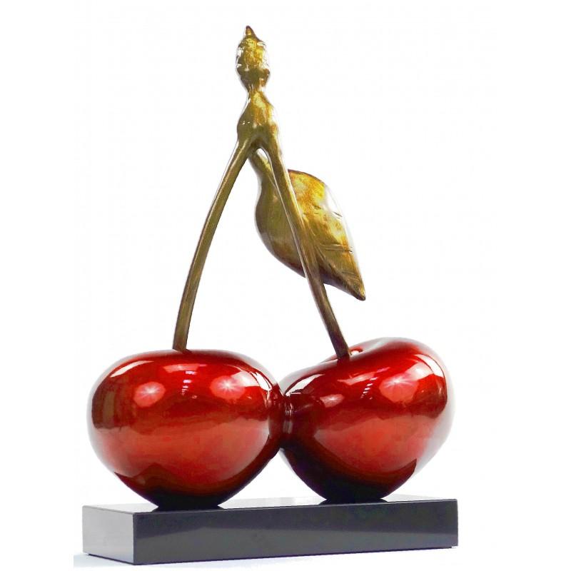 Statue sculpture décorative design CERISE DOUBLE en résine H46 cm (rouge) - image 49106