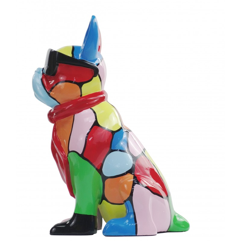 Resin statue sculpture decorative design dog A SUNGLASSES stand H36 (multicolor) - image 49160