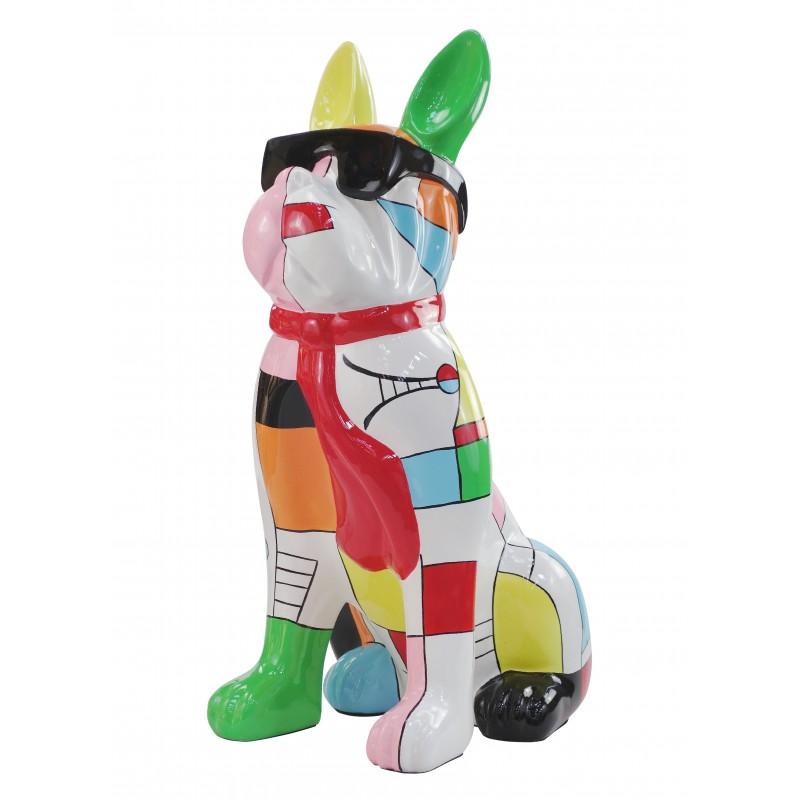 Perro de diseño decorativo de la escultura de resina estatua permanente H102 (multicolor) - image 49168
