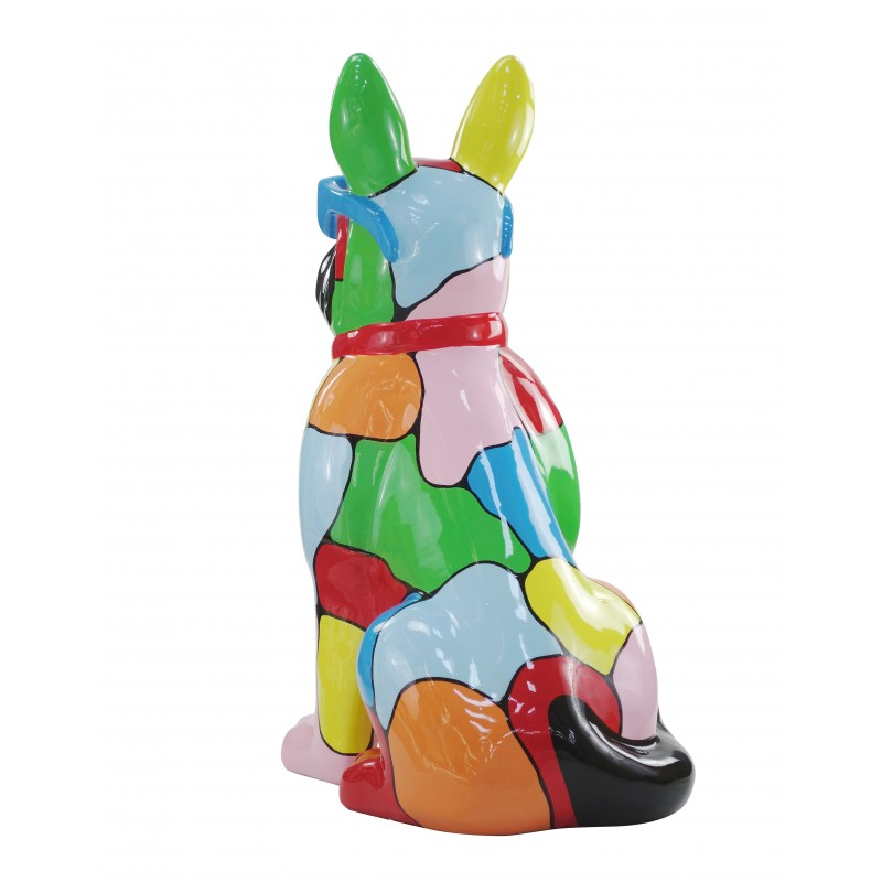 Resin statue sculpture decorative design dog A glasses standing H102 (multicolor) - image 49174