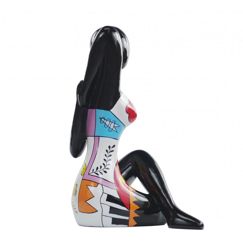 Statue sculpture décorative design FEMME ASSISE en résine H54 cm (multicolore) - image 49194