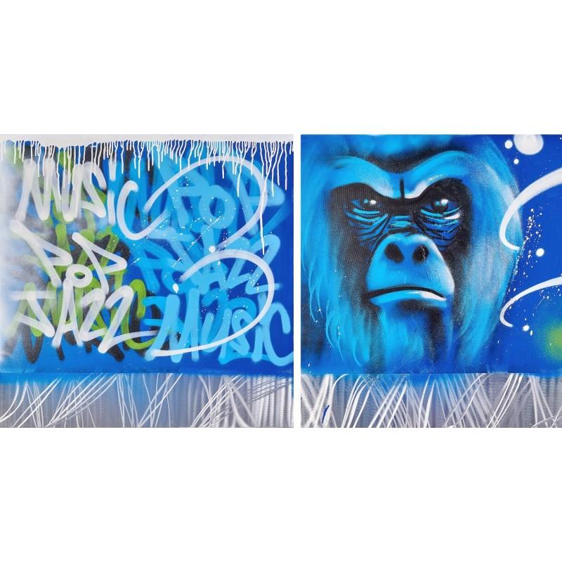 Set von 2 Gemälden Street Art GORILLE (Blau) - image 49250