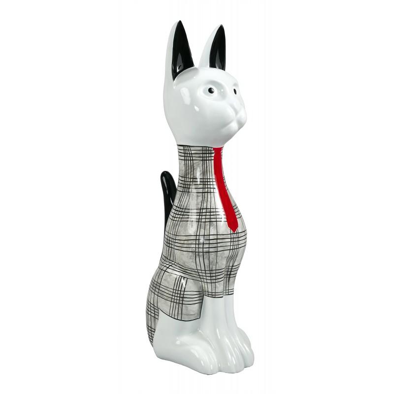 Statue sculpture décorative design CHAT DEBOUT en résine H97 cm (Noir, blanc) - image 49257