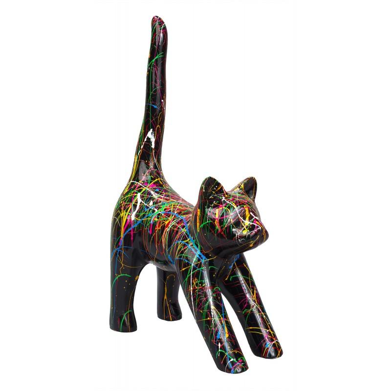 Statue sculpture décorative design CHAT HEUREUX en résine H44 cm (Multicolore)