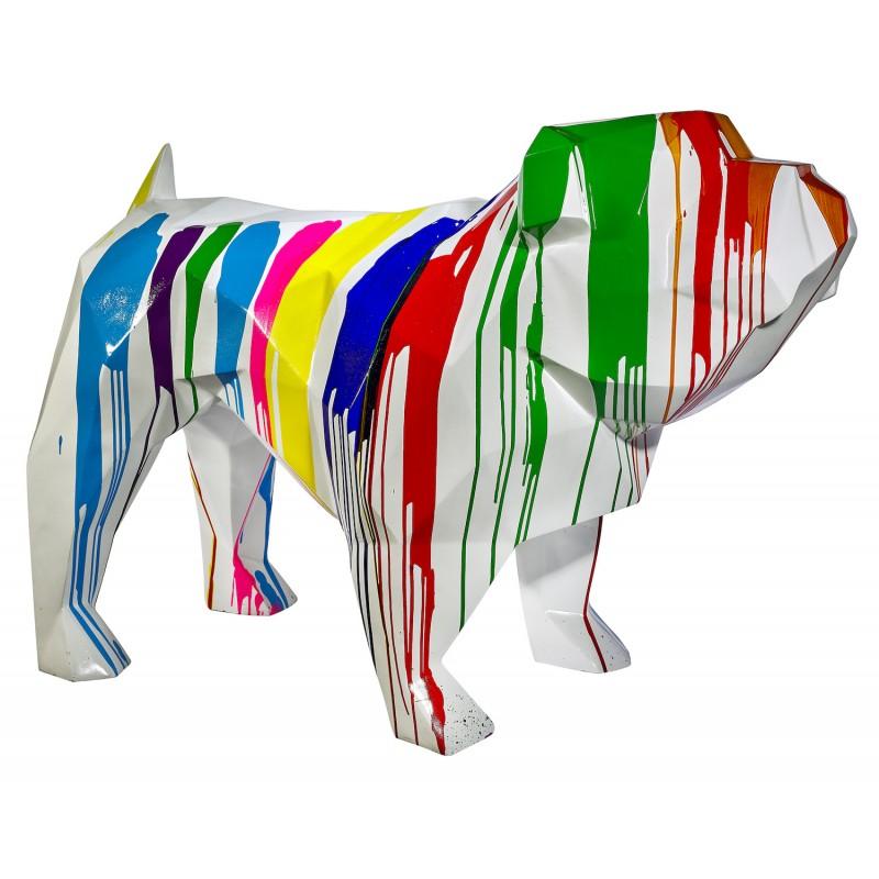 Statue sculpture décorative design CHIEN GEOMETRIQUE en résine H103 cm (Multicolore)