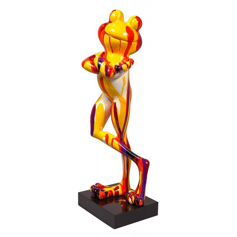 Statue sculpture décorative design GRENOUILLE DEBOUT TRASH en résine H77 cm (Multicolore)