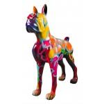 Statue sculpture décorative design CHIEN DEBOUT STREET ART XXL en résine H150 cm (Multicolore)