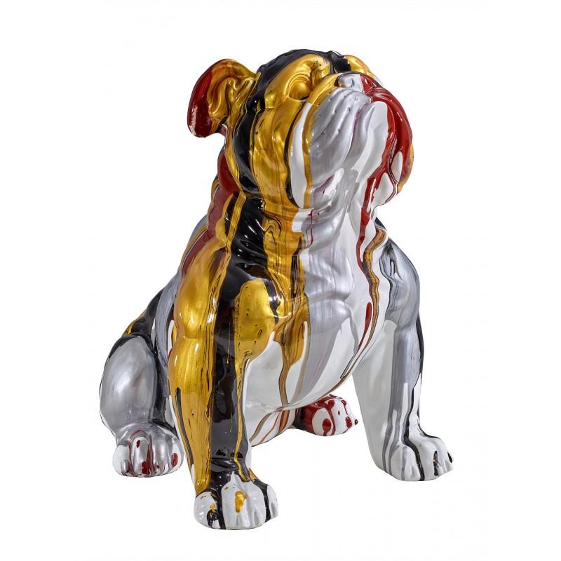 Statue sculpture décorative design CHIEN BOULEDOGUE en résine H45 cm (Multicolore) - image 49285